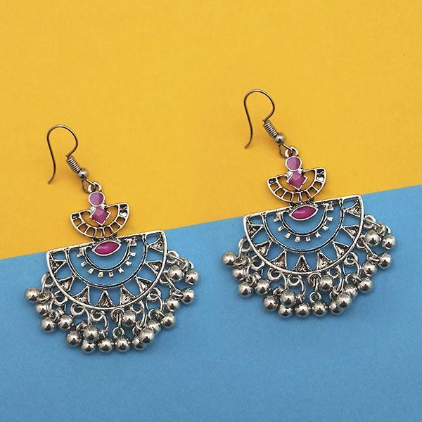 Tip Top Fashions Maroon Silver Plated Meenakari Afghani Earrings - 1312434C