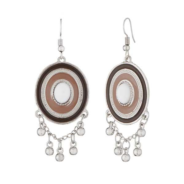 Tip Top Fashions Rhodium Plated Brown Meenakari Afghani Earrings - 1312504B