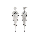 Urthn Black Meenakari Silver Plated Dangler Earrings - 1312519B
