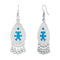Tip Top Fashions Blue Meenakari Rhodium Plated Afghani Earrings - 1312528B