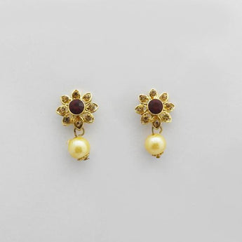 Kriaa Maroon Austrian Stone Gold Plated Stud Earrings - 1312704F