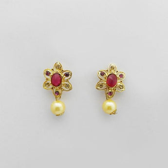 Kriaa Purple Austrian Stone Gold Plated Stud Earrings - 1312706B
