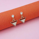 Kriaa White Enamel Crystal Stone Gold Plated Stud Earrings