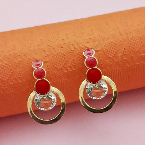 Kriaa Gold Plated Red Meenakari Austrian Stone Stud Earrings - 1312854B