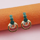 Kriaa Gold Plated Green Meenakari Austrian Stone Stud Earrings - 1312854D