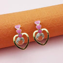 Kriaa Gold Plated Pink Meenakari Austrian Stone Stud Earrings - 1312855E