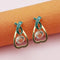 Kriaa Gold Plated Green Meenakari Austrian Stone Stud Earrings - 1312856D