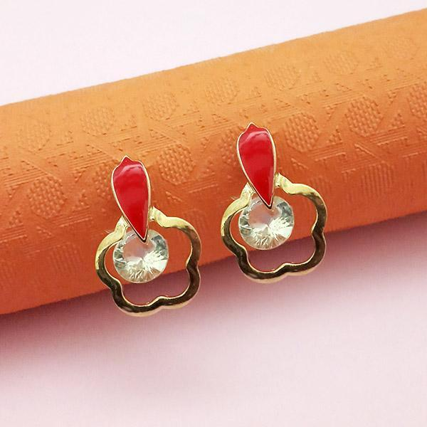 Kriaa Gold Plated Red Meenakari Austrian Stone Stud Earrings - 1312862B