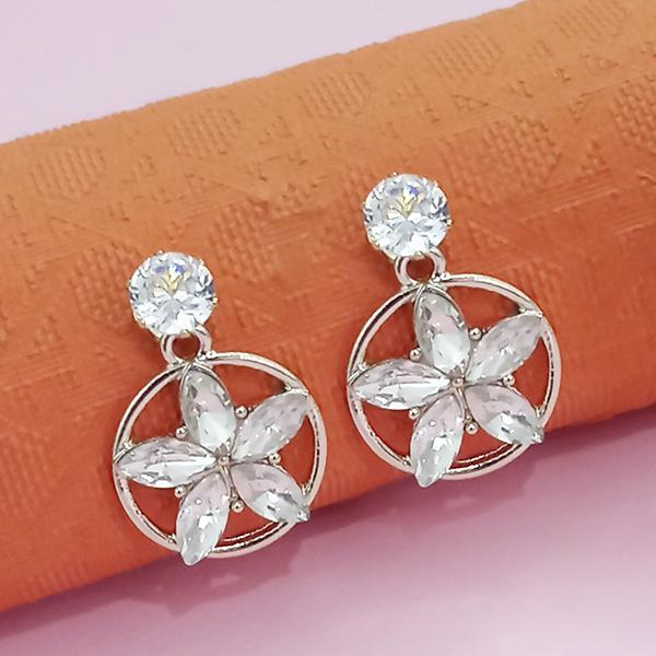 Kriaa Gold Plated White Austrian Stone Stud Earrings  - 1312883A