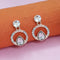 Kriaa Gold Plated White Austrian Stone Stud Earrings  - 1312884A