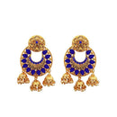 Kriaa Blue Austrian Stone Gold Plated Dangler Earrings - 1312904B