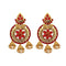 Shreeji Red Austrian Stone Gold Plated Dangler Earrings - 1312910F