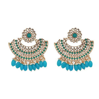 Kriaa Blue Kundan And Pearl Gold Plated Dangler Earrings - 1312911H