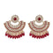 Kriaa Maroon Kundan And Pearl Gold Plated Dangler Earrings - 1312911I