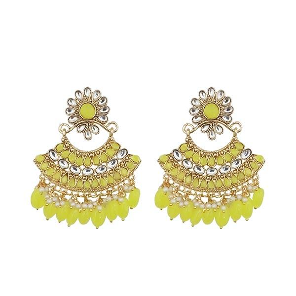 Kriaa Yellow Kundan And Pearl Gold Plated Dangler Earrings - 1312916G