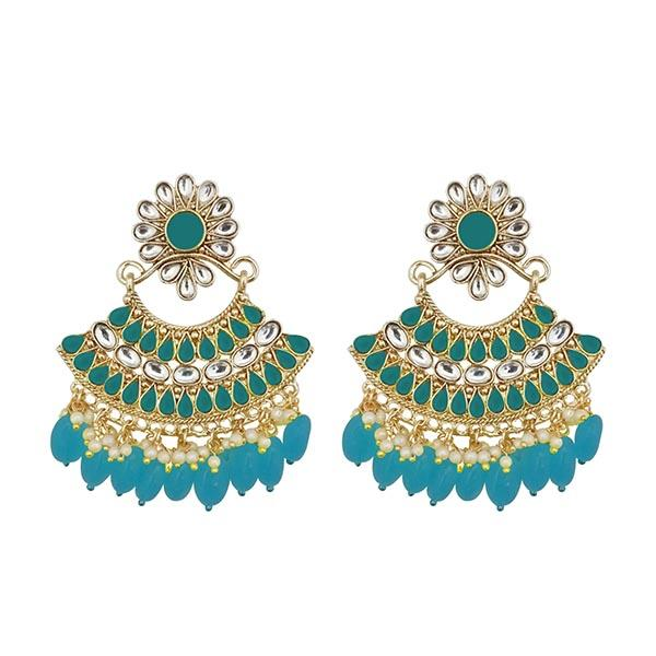 Kriaa Blue Kundan And Pearl Gold Plated Dangler Earrings - 1312916H