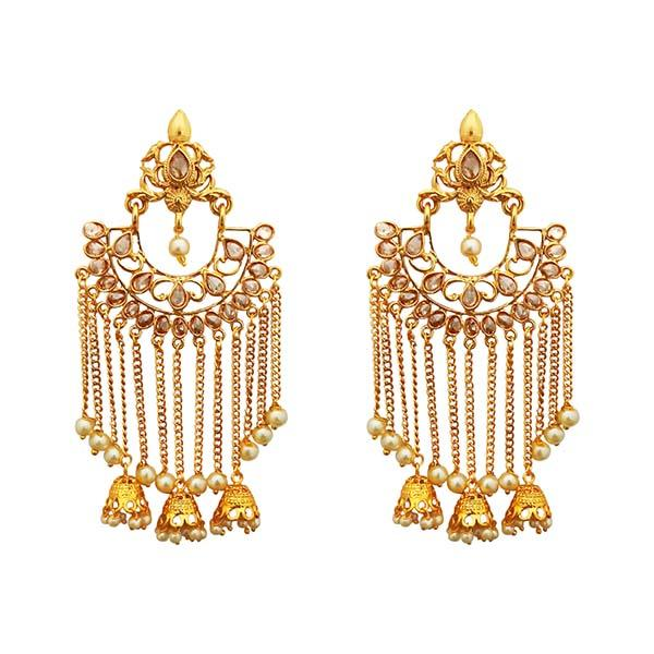Kriaa  AD Stone Gold Plated Dangler Earrings - 1312918A