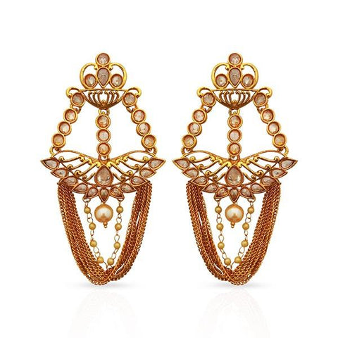 Shreeji AD Stone Gold Plated Dangler Earrings - 1312922A
