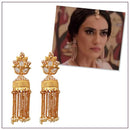 Kriaa Gold Plated AD Stone Pearl Drop Jhumki Earrings
