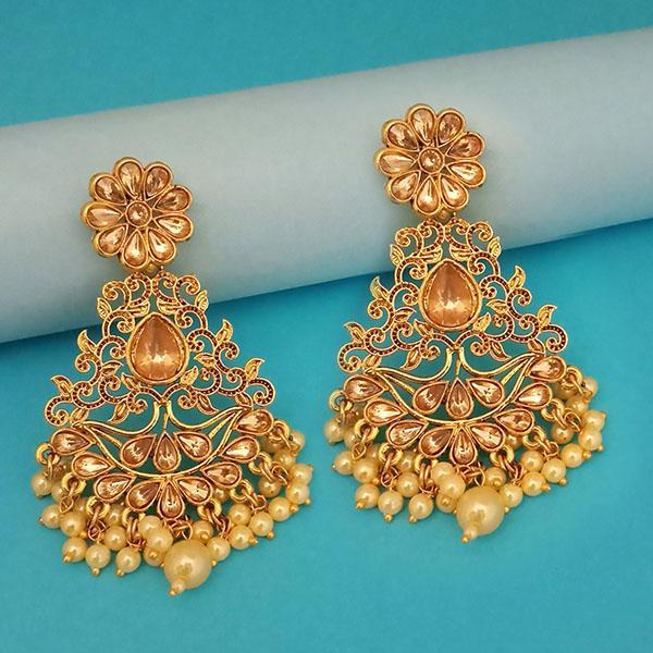 Kriaa Gold Plated Brown Austrian Stone Dangler Earrings - 1312957