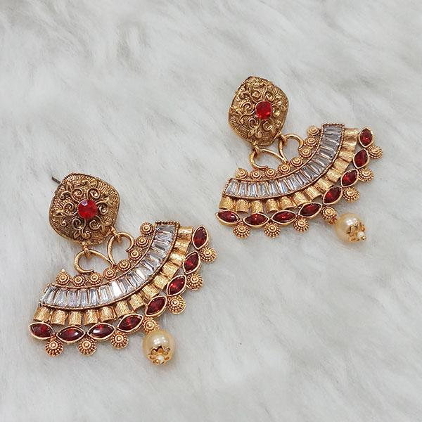 Kriaa Gold Plated AD Stone Dangler Earrings - 1313008B