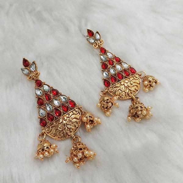 Kriaa Gold Plated Austrian Stone Dangler Earrings - 1313016B