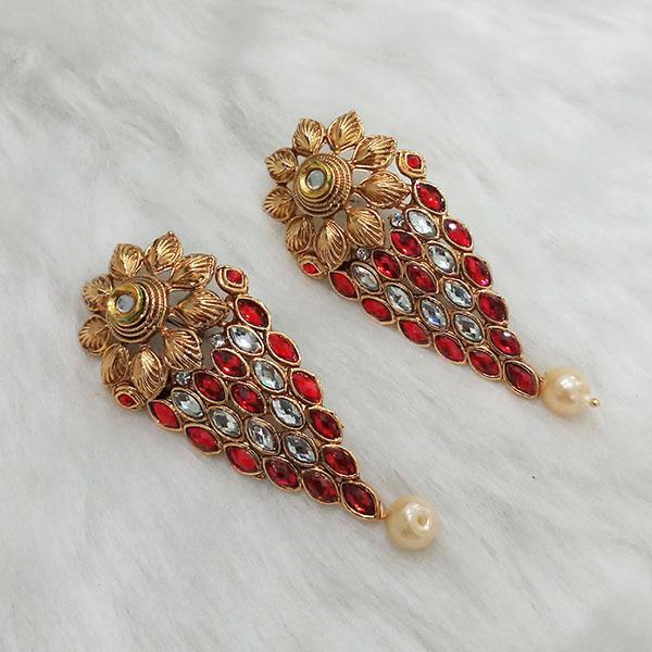 Kriaa Gold Plated Maroon Austrian Stone Dangler Earrings - 1313017B