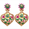 Kriaa Austrian Stone  Floral Design Dangler Earrings