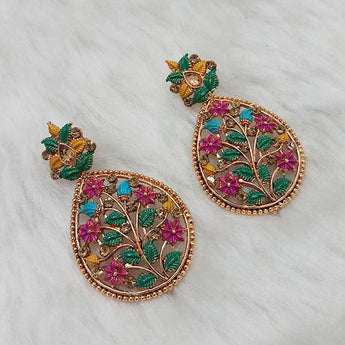 Kriaa Floral Design Austrian Stone Dangler Earrings - 1313026A