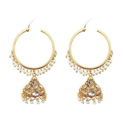 Kriaa Gold Plated White Austrian Stone And Pearl Jhumki Earrings - 1313043