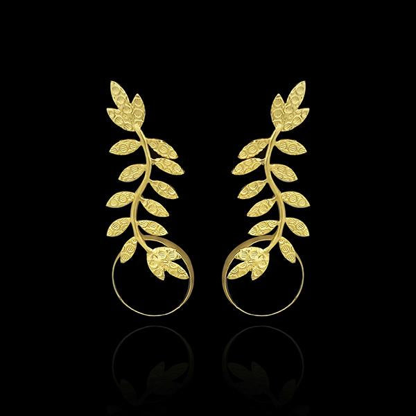 Infinity Gold Plated Leaf Design Dangler Earrings - 1313101A