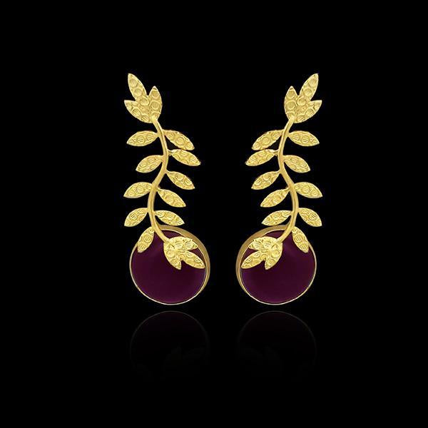 Infinity Gold Plated Resin Stone Leaf Design Dangler Earrings - 1313101C