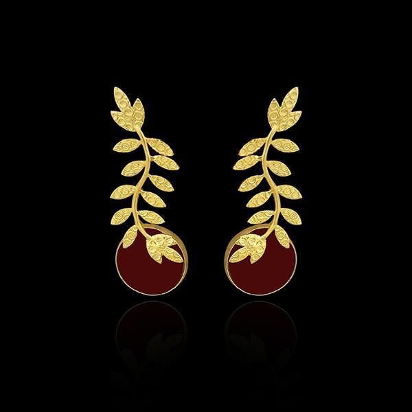 Infinity Gold Plated Resin Stone Leaf Design Dangler Earrings - 1313101E
