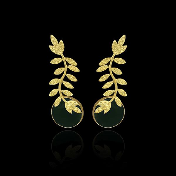 Infinity Gold Plated Resin Stone Leaf Design Dangler Earrings - 1313101G