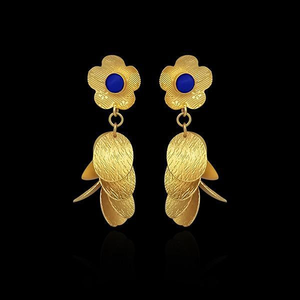 Infinity Gold Plated Blue Pota Stone Dangler Earrings - 1313103C