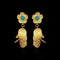 Infinity Blue Pota Stone Gold Plated Dangler Earrings - 1313103D