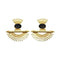 Infinity Black Stone Gold Plated Dangler Earrings - 1313105B