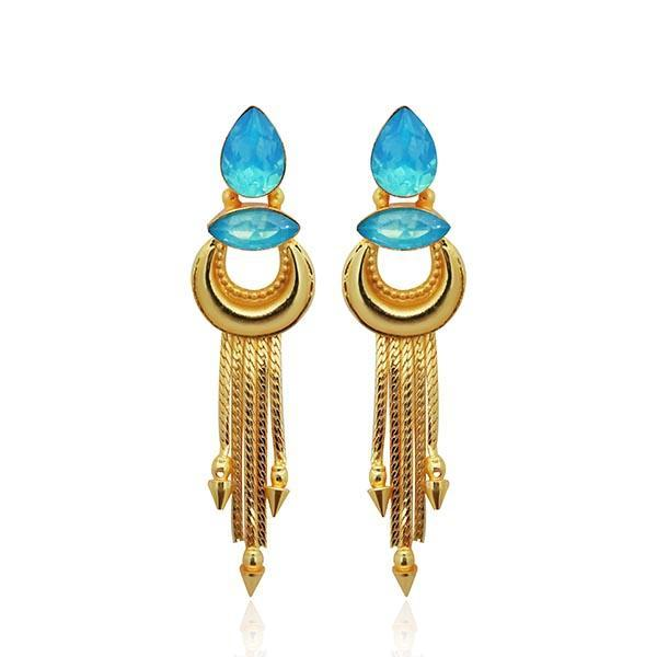 Infinity Blue Crystal Stone Gold Plated Dangler Earrings - 1313106C