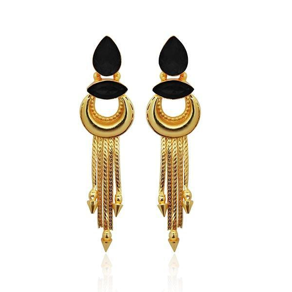 Infinity Black Resin Stone Gold Plated Dangler Earrings - 1313106D