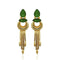 Infinity Green Crystal Stone Gold Plated Dangler Earrings - 1313106E