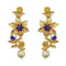 Infinity Blue Austrian Stone Gold Plated Floral Dangler Earrings - 1313108A