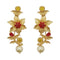 Infinity Maroon Austrian Stone Gold Plated Floral Dangler Earrings - 1313108B