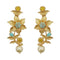 Infinity Blue Austrian Stone Gold Plated Floral Dangler Earrings - 1313108C