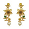 Infinity Green Austrian Stone Gold Plated Floral Dangler Earrings - 1313108E