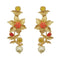 Infinity Red Austrian Stone Gold Plated Floral Dangler Earrings