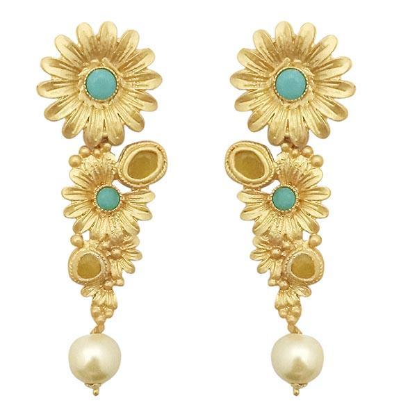 Infinity Blue Pota Stone Gold Plated Floral Dangler Earrings - 1313109C