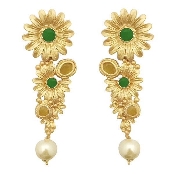 Infinity Green Pota Stone Gold Plated Floral Pearl Dangler Earrings