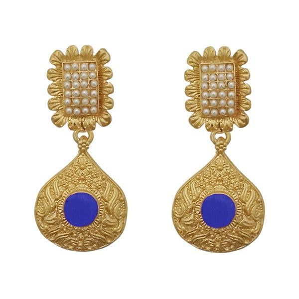 Infinity Blue Pota Stone Gold Plated Pearl Dangler Earrings