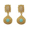 Infinity Blue Pota Stone Gold Plated Pearl Dangler Earrings - 1313110C