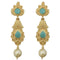 Infinity Blue Pota Stone Gold Plated Pearl Drop Dangler Earrings - 1313111C